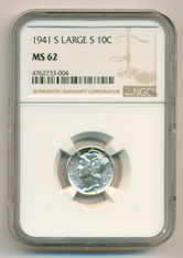 1941 S Mercury Dime Large S MS62 NGC