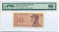 Indonesia 1964 50 Sen Bank Note Gem Unc 66 EPQ PMG