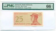 Indonesia 1964 25 Sen Bank Note Gem Unc 66 EPQ PMG