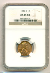 1939 D Lincoln Wheat Cent MS65 RED NGC