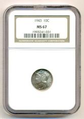 1943 Mercury Dime MS67 NGC Nice Toning