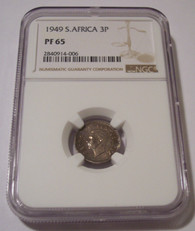 South Africa Silver 1949 3 Pence Proof PF65 NGC Low Mintage