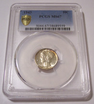 1943 Mercury Dime MS67 PCGS Color Accents