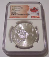 Canada 2018 1 Ounce Silver 5 Dollars Wolf MS70 NGC ER Flag Label