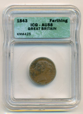 Great Britain 1843 Farthing AU58 ICG