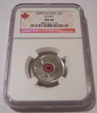 Canada 2008 25 Cents WWI Armistice Anniversary - Poppy MS66 NGC