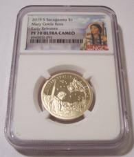 2019 S Native American Dollar Mary Gold Ross Proof PF70 UC NGC ER Sacagawea Label