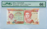 Belize 2011 5 Dollars Bank Note Gem Unc 66 EPQ PMG