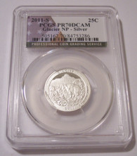 2011 S Silver Glacier NP Quarter Proof PR70 DCAM PCGS Flag Label