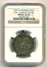 1909 NY Hudson-Fulton ANS Medal Silvered AU50 NGC Emil Fuchs designed