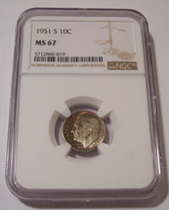 1951 S Roosevelt Dime MS67 NGC Copper Toning