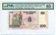 Congo Democratic Republic 2003 200 Francs Bank Note Gem Unc 65 EPQ PMG