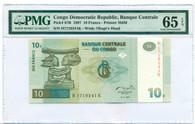 Congo Democratic Republic 1997 10 Francs Bank Note Gem Unc 65 EPQ PMG