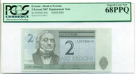 Estonia 2007 2 Krooni Bank Replacement Note Superb Gem New 68 PPQ PCGS Currency