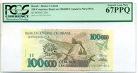 Brazil 1993 100 Cruzeiros Reais on 100K Cruzeiros Bank Note Superb Gem New 67 PPQ PCGS Currency
