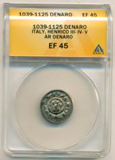 Italy Henrico III-IV-V c. 1039-1125 Ar Denaro EF45 ANACS