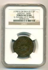 Great Britain 1790s 1/2 Penny Conder Token Suffolk - Bury D&H-25 AU55 BN NGC