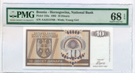 Bosnia - Herzegovina 1992 10 Dinara Bank Note Superb Gem Unc EPQ PMG