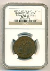 Great Britain 1793 1/2 Penny Conder Token Staffordshire - Leek D&H-10 AU55 BN NGC