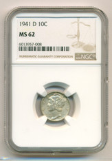 1941 D Mercury Dime MS62 NGC