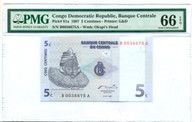 Congo Democratic Republic 1997 5 Centimes Bank Note Gem Unc 66 EPQ PMG