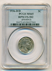 1936 D/D Buffalo Nickel RPM Variety FS-502 MS65 PCGS