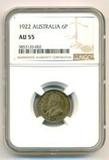 Australia George V 1922 Silver 6 Pence AU55 NGC