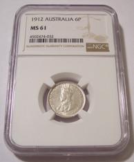 Australia George V 1912 Silver 6 Pence MS61 NGC