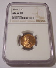1949 S Lincoln Wheat Cent MS67 RED NGC