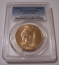 2009 Letitia Tyler First Spouse Bronze Medal U.S. Mint MS67 RED PCGS