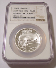 Tuvalu 2016 P 1 oz Silver $1 Star Trek High Relief Proof PF70 UC NGC Low Mintage