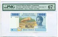 Central African States - Cameroun 2015 1000 Francs Bank Note Superb Gem Unc 67 EPQ PMG