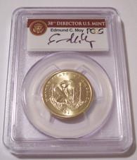 2009 Native American Dollar Missing Edge Lettering Error MS67 PCGS Moy Signature