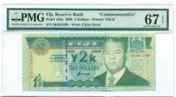"Fiji 2000 2 Dollars Bank Note ""Commemorative"" Superb Gem Unc 67 EPQ PMG"