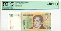 Argentina 2003 10 Pesos Bank Note Superb Gem New 68 PPQ PCGS Currency
