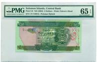 Solomon Islands 2004 2 Dollars Bank Note - Polymer Hybrid Gem Unc 65 EPQ PMG