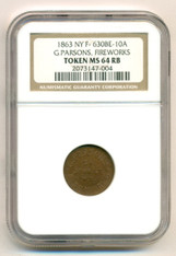 Civil War Token 1863 New York NY G Parsons F-630BE-10a R9 MS64 RB NGC