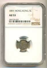 Hong Kong Victoria 1891 Silver 5 Cents AU53 NGC