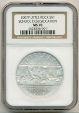 2007 P Little Rock Desegregation Commemorative Silver Dollar MS70 NGC