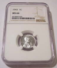 1943 Lincoln Wheat Steel Cent MS66 NGC