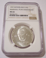 Netherlands Beatrix 1997 Silver 10 Gulden Marshall Plan MS66 NGC