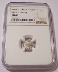 India - French Mahe - (1738-92) Silver Fanon MS62 NGC