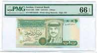Jordan 1996 1 Dinar Bank Note Gem Unc 66 EPQ PMG