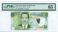 Botswana 2018 10 Pula Bank Note Polymer Gem Unc 65 EPQ PMG
