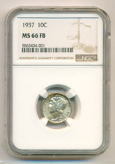 1937 Mercury Dime MS66 FB NGC