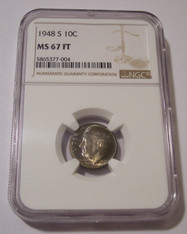 1948 S Roosevelt Dime MS67 FT NGC Color Toning