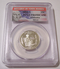 2003 S Silver Alabama State Quarter Proof PR69 DCAM PCGS History Label