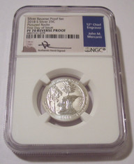 2018 S Silver Pictured Rocks NP Quarter Reverse Proof PF70 NGC FDI Mercanti Signed