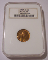 1939 S Lincoln Wheat Cent MS67 RED NGC OH