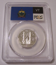 2001 S Silver Vermont State Quarter Proof PR70 DCAM PCGS Flag Label